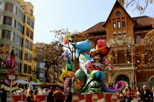 One of the many 'Fallas' set up in Valencia