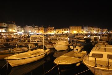 Rovinj harbour at night