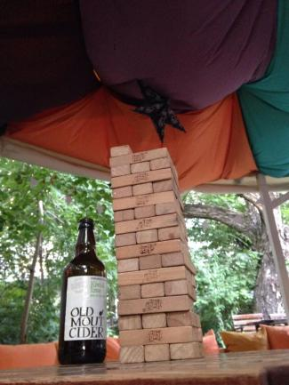Jenga and cider at Doors Hostel.