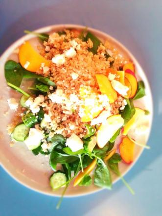 Not the most well presented dish, but delicious nonetheless. Spinach, quinoa, feta, peach and cucumber salad.